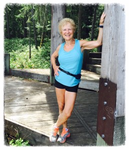 Jill Davies looking very fit at Giovando Lookout on Newcastle Island