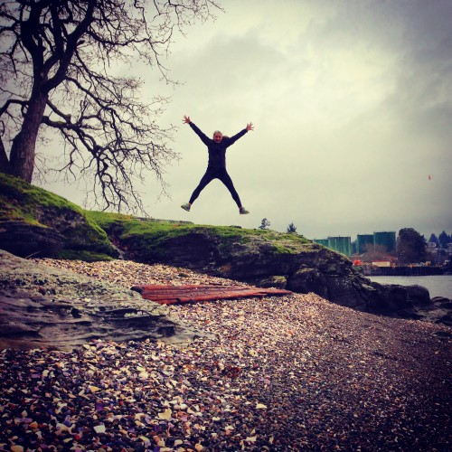Jumping for joy on Newcastle Island.