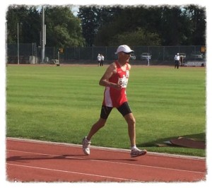 Maurice Tarrant on his way to 5k Canadian 85+ record at 2015 BC 55+ Games (photo by Claire Tarrant-Rowley)